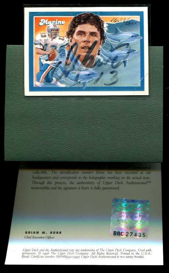 Dan Marino - UDA AUTOGRAPHED - 1992 Upper Deck Heroes w/COA #1857 Dolphins Baseball cards value