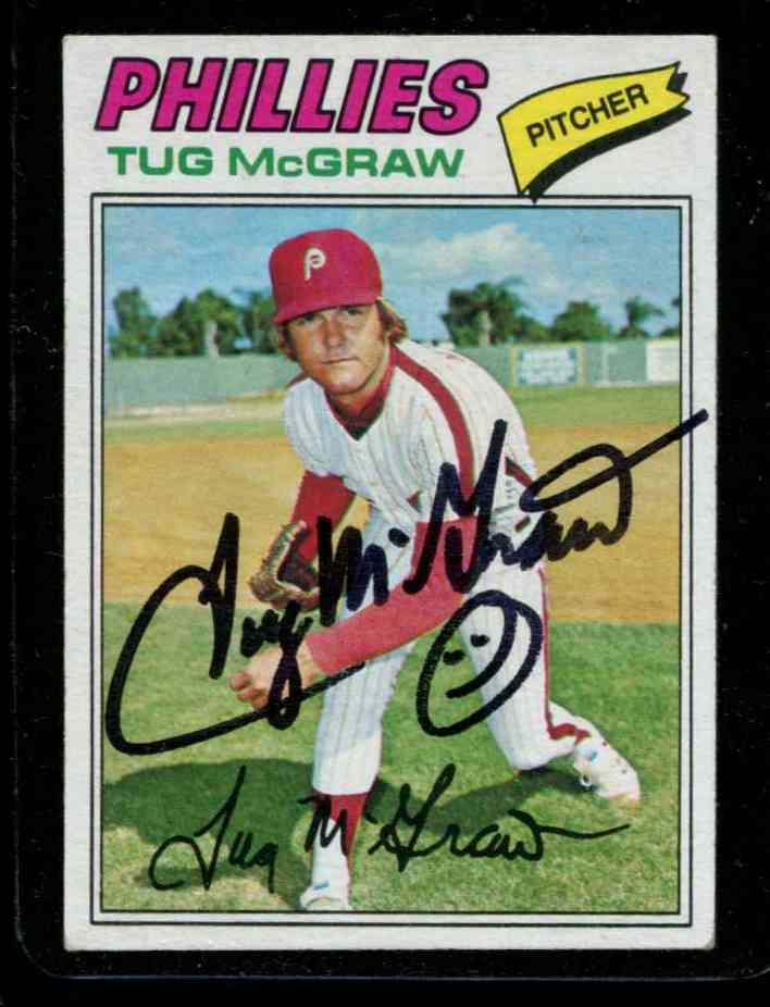Autographed 1977 Topps 164 Tug Mcgraw Psadna Loa Philliesdeceased