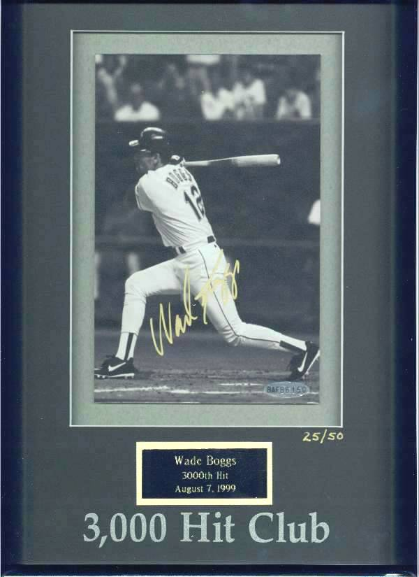 Wade Boggs - UDA LIMITED EDITION Autographed 3,000 Hit Club photo (Red Sox Baseball cards value