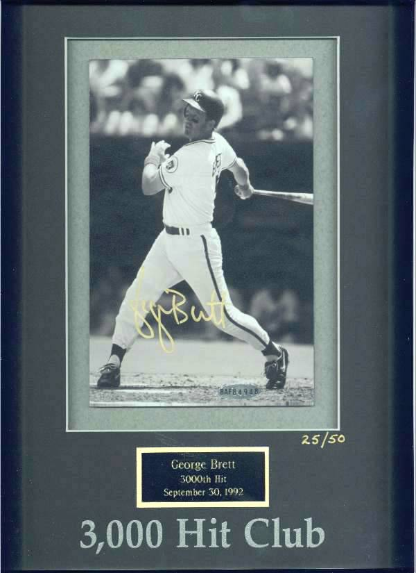 George Brett - UDA LIMITED EDITION Autographed 3,000 Hit Club photo (Royal Baseball cards value
