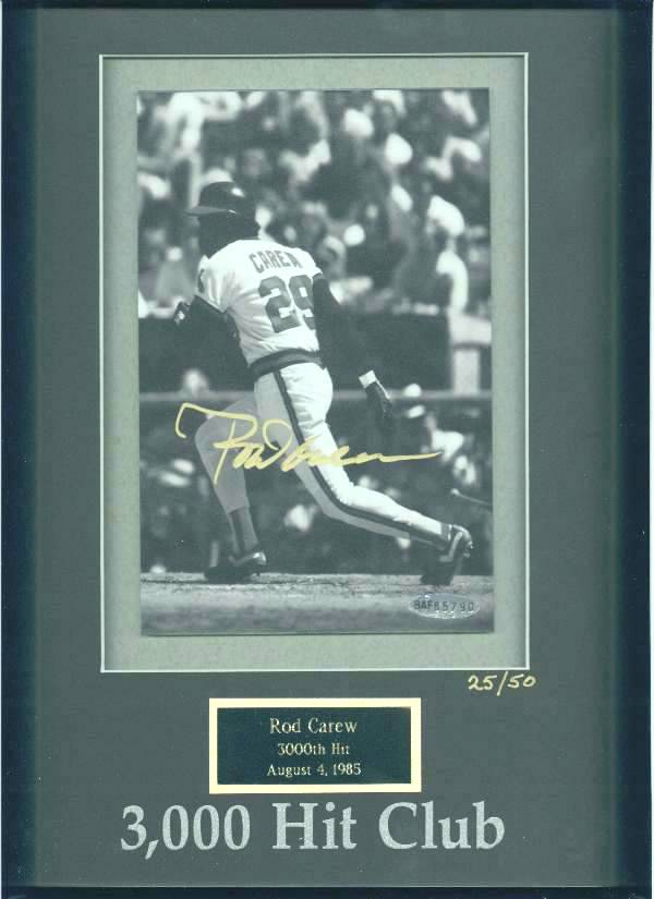 Rod Carew - UDA LIMITED EDITION Autographed 3,000 Hit Club photo (Twins) Baseball cards value