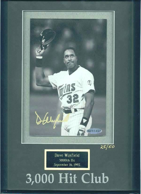 Dave Winfield - UDA LIMITED EDITION Autographed 3,000 Hit Club photo Baseball cards value
