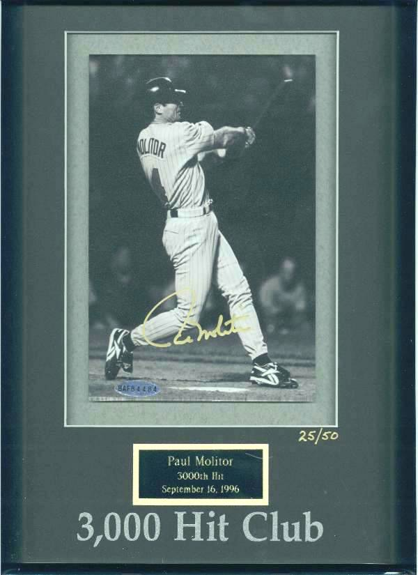 Paul Molitor - UDA LIMITED EDITION Autographed 3,000 Hit Club photo (Brewe Baseball cards value
