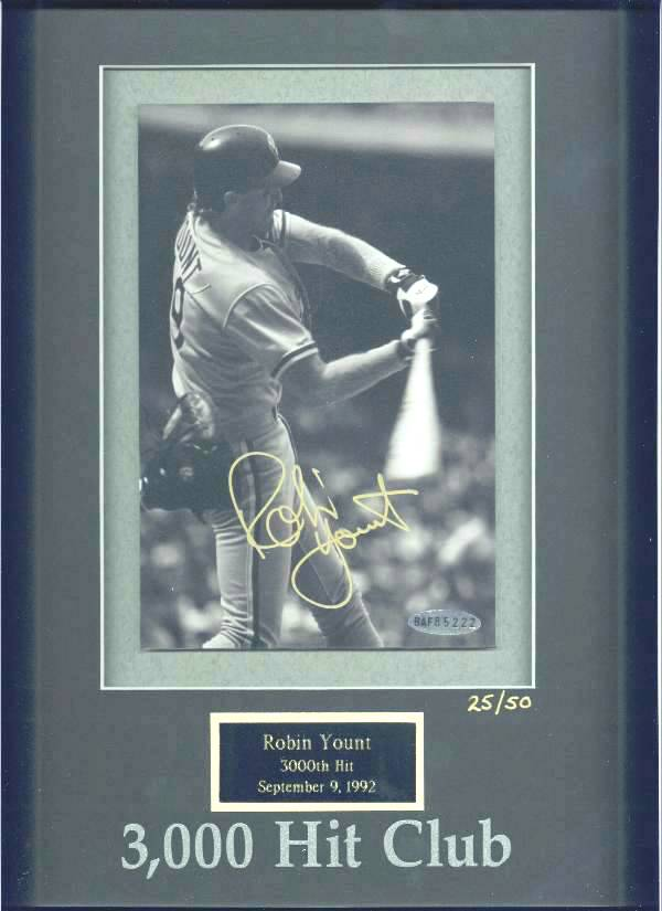 Robin Yount - UDA LIMITED EDITION Autographed 3,000 Hit Club photo (Brewer Baseball cards value