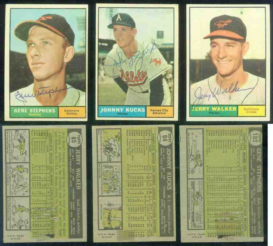 1961 Topps AUTOGRAPHED #.85 Jerry Walker w/PSA/DNA Auction LOA (Orioles) [d Baseball cards value