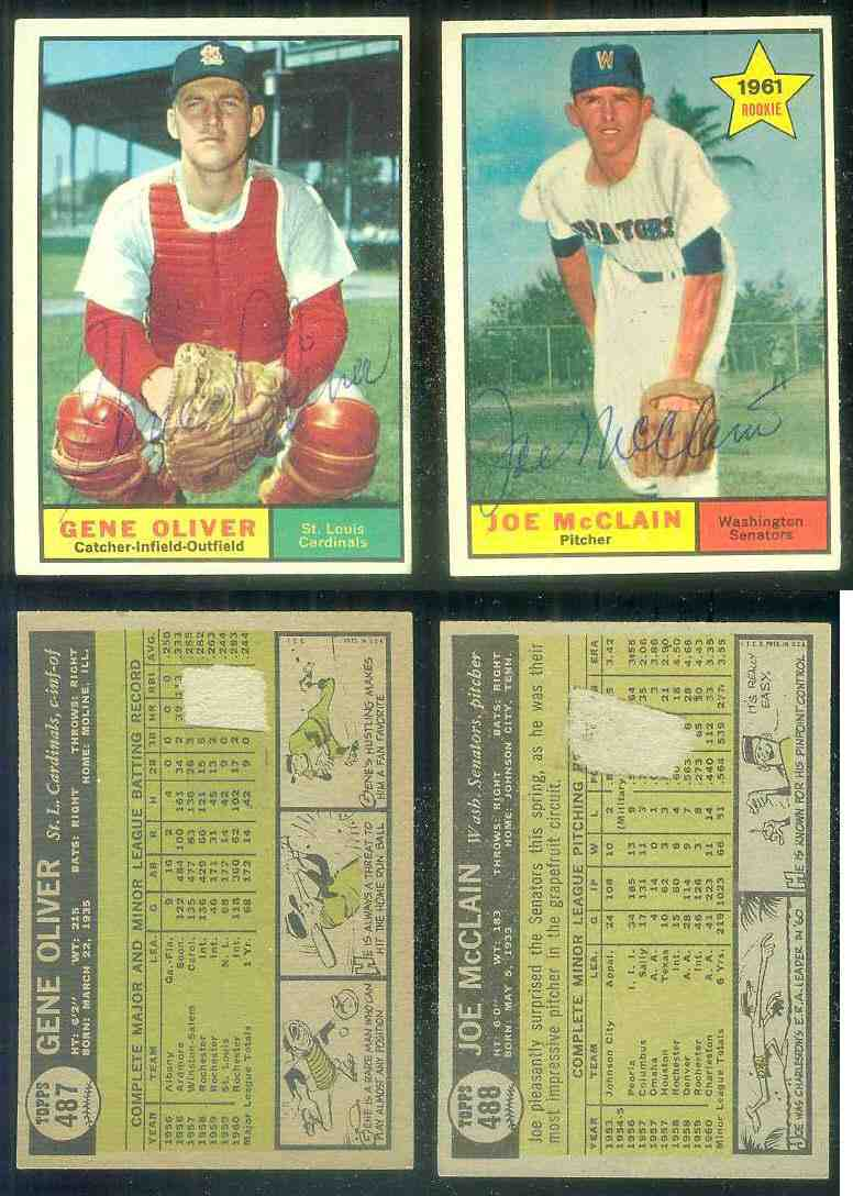 1961 Topps AUTOGRAPHED #488 Joe McClain w/PSA/DNA Auction LOA (Senators) [d Baseball cards value