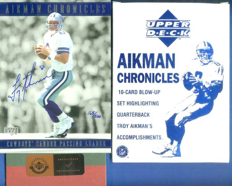 Troy Aikman - UDA Autographed 'Aikman Chronicles' 5x7 Jumbo set (10 cards) Football cards value