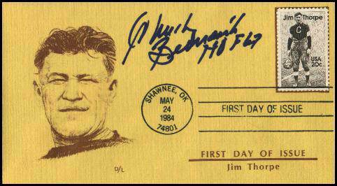 Chuck Bednarik - AUTOGRAPHED 1984 Jim Thrope FIRST DAY ISSUE cachet Football cards value