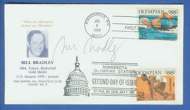 Bill Bradley - AUTOGRAPHED 1990 DUAL POSTMARKED 1st/2nd DAY ISSUES cachet Basketball cards value
