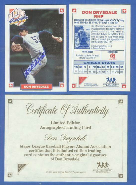 Don Drysdale - 1993 Nabisco Club AUTOGRAPH (Dodgers Hall-of-Famer) Baseball cards value