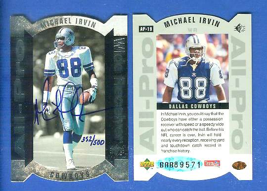 Michael Irvin - UDA AUTOGRAPHED - 1995 SP 'All-Pro' Die-Cut FOIL Football cards value