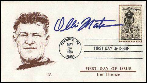 Ollie Matson - AUTOGRAPHED 1984 Jim Thrope 'FIRST DAY ISSUE' cachet Football cards value