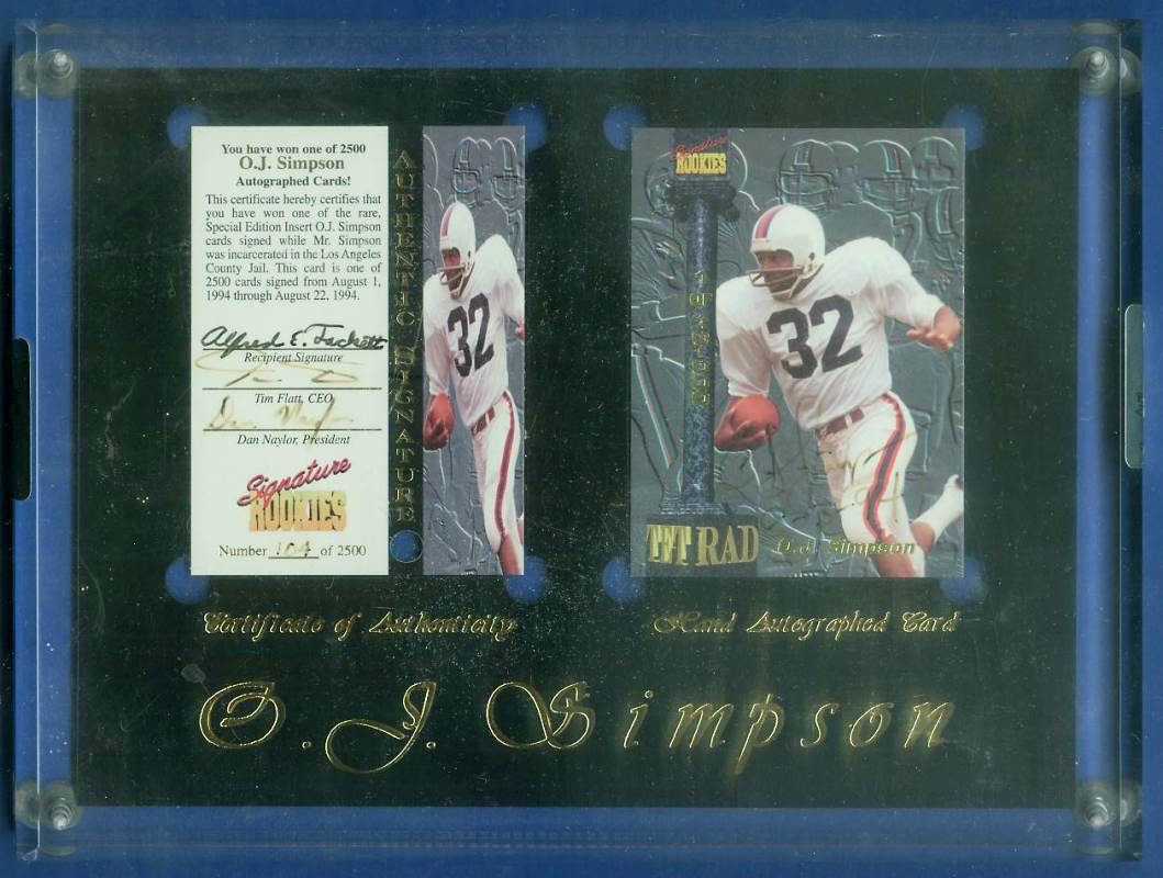 O.J. Simpson - 1994 SIGNATURE ROOKIES Autographed card & plaque Football cards value