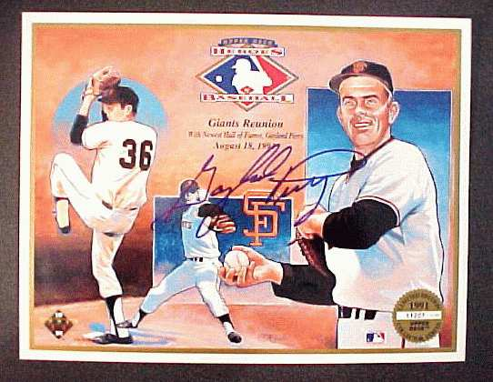 Gaylord Perry - Autographed Upper Deck Commerative Sheet (Giants) Baseball cards value