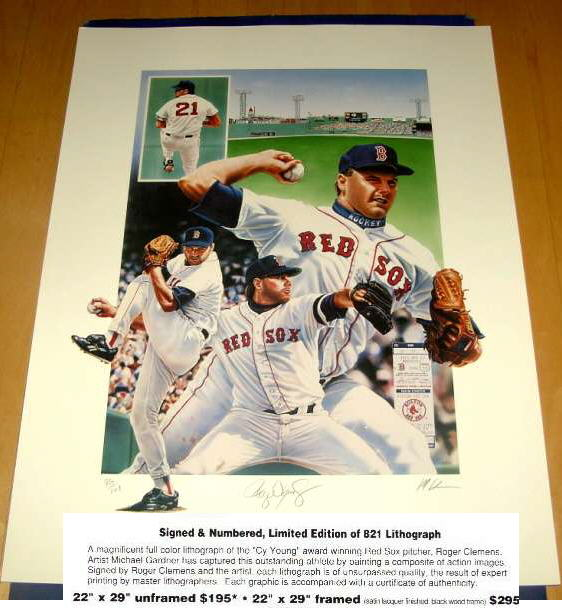 Roger Clemens - AUTOGRAPHED LITHOGRAPH (Full Color 22x29 inch) (Red Sox) Baseball cards value