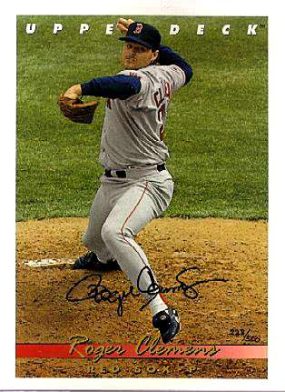 Roger Clemens - UDA AUTOGRAPHED - 1993 Upper Deck 8-1/2 x 11 inch Blow-Up Baseball cards value