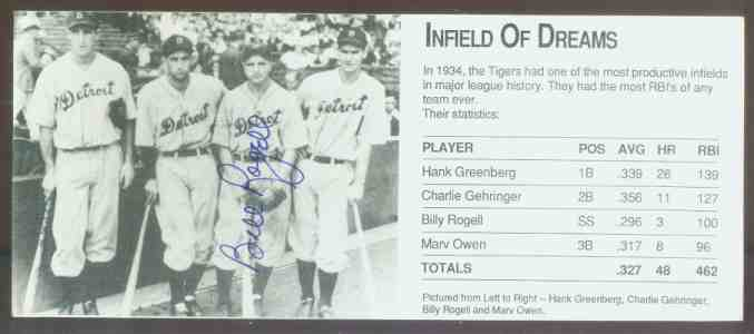 Billy Rogell - AUTOGRAPHED 'Infield of Dreams' Postcard (Tigers,deceased) Baseball cards value