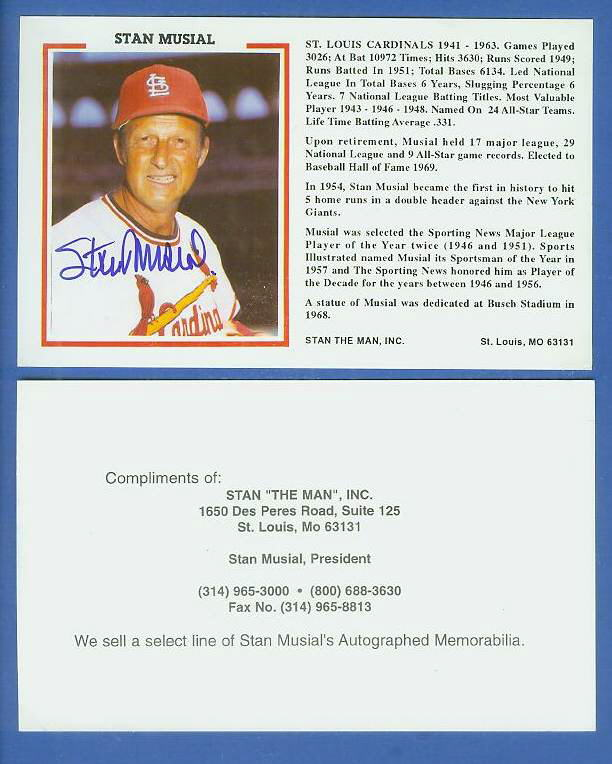 Stan Musial - AUTOGRAPHED 'Stan the Man' Postcard (Cardinals) Baseball cards value