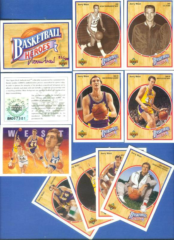 Jerry West - UDA AUTOGRAPHED - 1992 Upper Deck Heroes Set (Lakers) Basketball cards value