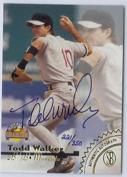 Todd Walker - 1996 Scoreboard GOLD #d/350 Autographed Collection AUTOGRAPH Baseball cards value