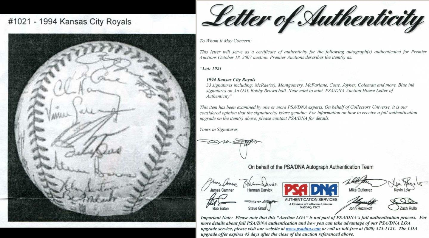 1994 Royals - Team Signed/AUTOGRAPHED baseball [#ed1021] w/33 Signatures! Baseball cards value