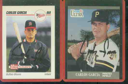 1991 Ultra + 1992 Skybox Carlos Garcia - Lot of (2) AUTOGRAPHED (Pirates) Baseball cards value
