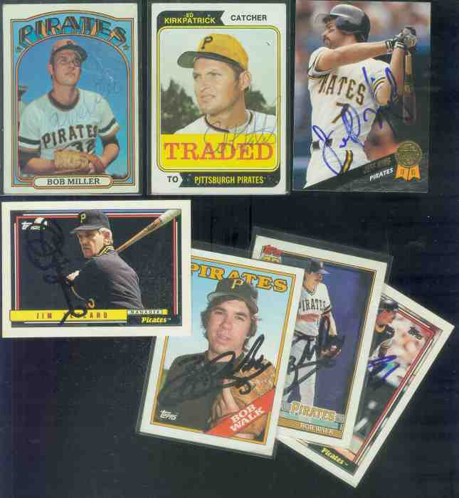 PITTSBURGH PIRATES - Lot (7) Autographed cards (all different players) Baseball cards value