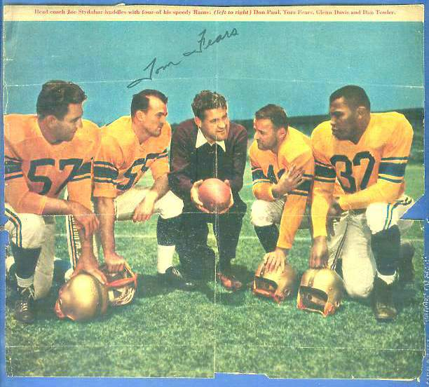 Tom Fears - Autographed Photo (8x7) from a 1952 Sports magazine (Rams) Football cards value