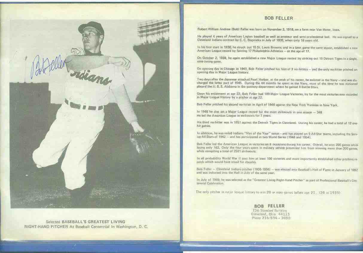 Bob Feller - Autographed 8-1/2x11 B&W Greatest Right-Handed Pitcher Photo Baseball cards value