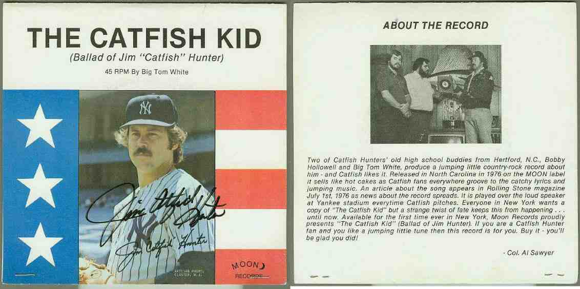 Jim 'Catfish' Hunter - AUTOGRAPHED 1976 45rpm RECORD 'The Catfish Kid' Baseball cards value