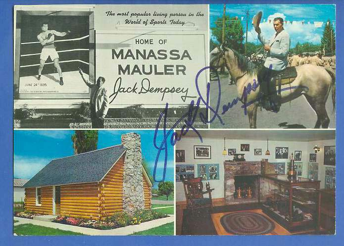 Jack Dempsey - AUTOGRAPHED 6x9 Jumbo Vintage Postcard [BOXING] Baseball cards value