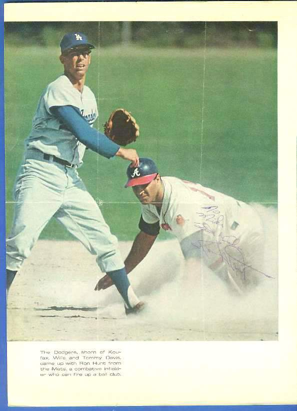 Ron Hunt - Autographed Vintage 1960's Sport Magazine Photo Baseball cards value