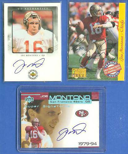 Joe Montana - 1993 Classic ProLine Live AUTOGRAPHED Football cards value