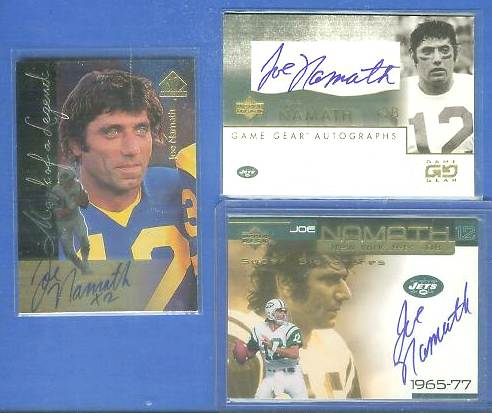 Joe Namath - 1997 SP Authentic 'MARK OF A LEGEND' AUTOGRAPH Football cards value