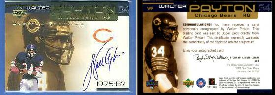 Walter Payton - 1999 Upper Deck 'Super Signatures' GOLD AUTOGRAPH #WP Football cards value
