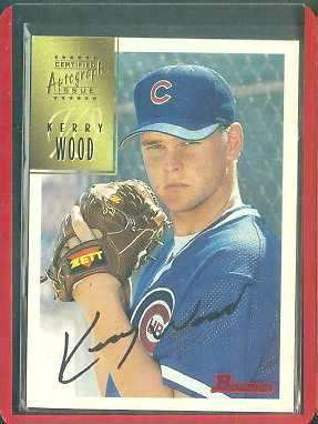 Kerry Wood - 1997 Bowman ROOKIE Certified BLACK-INK AUTOGRAPH #CA86 (Cubs) Baseball cards value