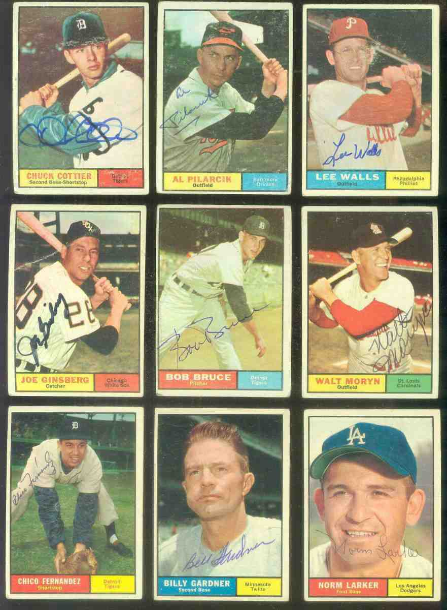 1961 Topps AUTOGRAPHED #.13 Chuck Cottier w/PSA/DNA Auction LOA (Tigers) [d Baseball cards value