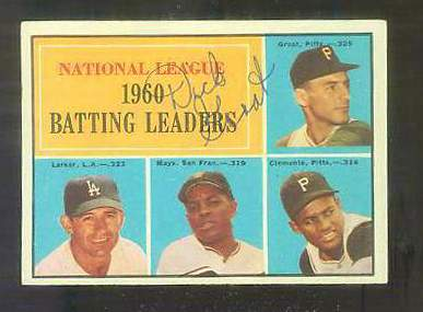 1961 Topps AUTOGRAPHED #.41 Dick Groat 'NL Leaders' w/PSA/DNA (deceased) [d Baseball cards value