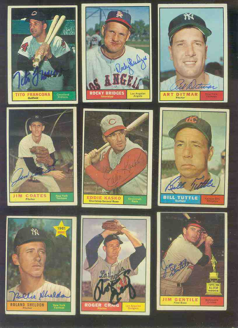 1961 Topps AUTOGRAPHED #503 Tito Francona w/PSA/DNA Auction LOA (Indians) [ Baseball cards value