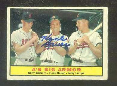 1961 Topps AUTOGRAPHED #119 Hank Bauer 'A's Big Armor' PSA/DNA (deceased) [ Baseball cards value
