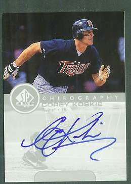 Corey Koskie - 1999 SP Authentic 'Chirography' AUTOGRAPH (Twins) Baseball cards value