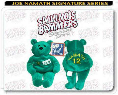 Joe Namath - AUTOGRAPHED Salvino Bear SCARCE PRESS PROOF !!! Football cards value