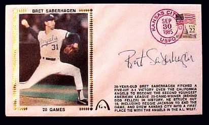 Bret Saberhagen - 1985 AUTOGRAPHED Gateway Cachet '20 GAMES' (Royals) Baseball cards value