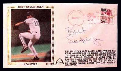 Bret Saberhagen - 1991 AUTOGRAPHED Gateway Cachet 'NO-HITTER' (Royals) Baseball cards value