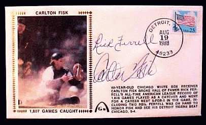 Carlton Fisk/Rick Ferrell - 1988 AUTOGRAPHED Gateway Cachet SIGNED BY BOTH Baseball cards value