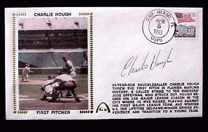 Charlie Hough - 1993 AUTOGRAPHED Gateway Cachet 'FIRST PITCHER' (Marlins) Baseball cards value