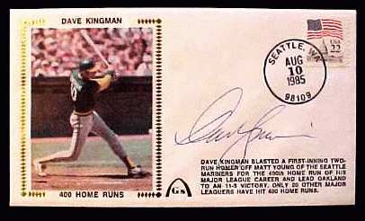 Dave Kingman - 1985 AUTOGRAPHED Gateway Cachet '400 HOME RUNS' (A's) Baseball cards value