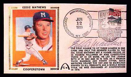 Eddie Mathews - 1989 AUTOGRAPHED Gateway Cachet 'COOPERSTOWN' (Braves) Baseball cards value