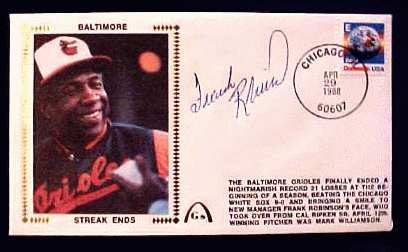 Frank Robinson - 1988 AUTOGRAPHED Gateway Cachet 'STREAK ENDS' (Orioles) Baseball cards value