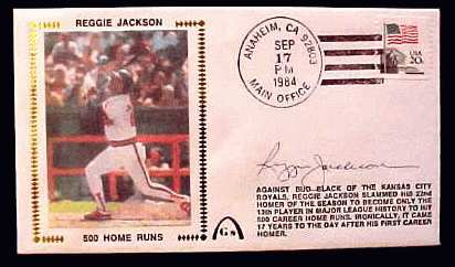 Reggie Jackson - 1984 AUTOGRAPHED Gateway Cachet '500 HOME RUNS' (Angels) Baseball cards value